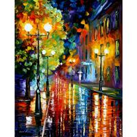 Contemporary Art Mysterious Night II Knife Oil Painting Canvas Beautiful Landscape Pictures For Wall Decor