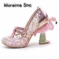 Moraima Snc 2018 Lovely Glitter Embellished t strap High heel shoes Customized Pumps Flamingo Strange Heels Woman Shoes Hot Sell