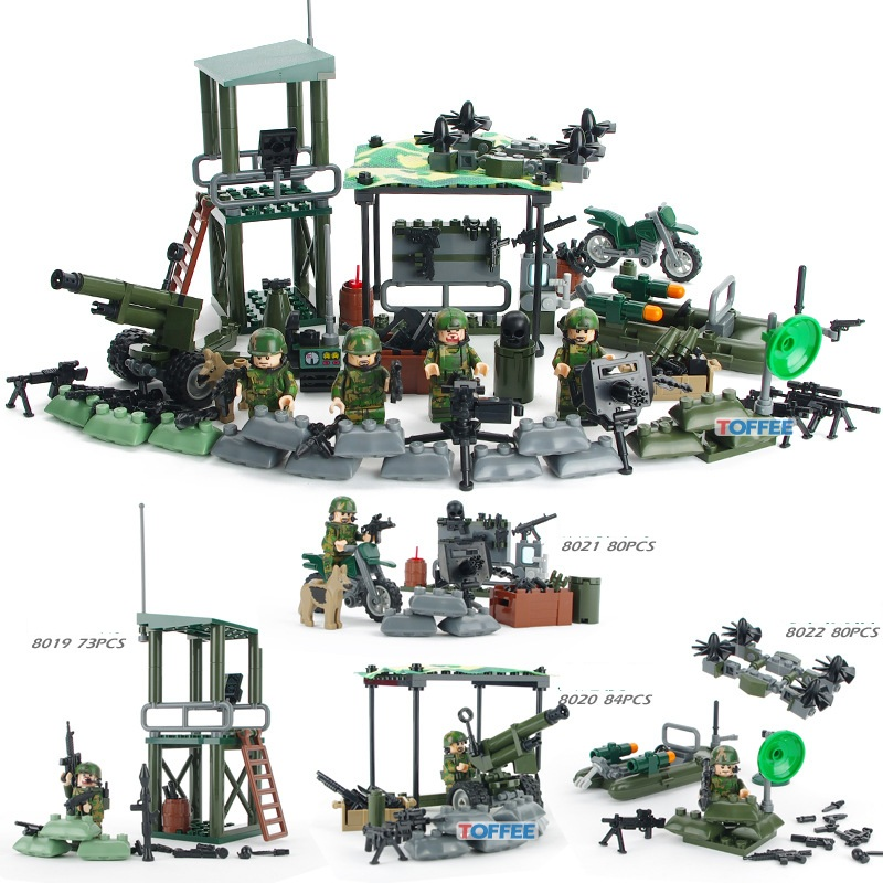 GUDI 8009 4in1 Military Series FIREWARE Blocks Soldier War Lookout Dog Building Blocks Figure Toys For Children Compatible Legoe xinlexin 317p 4in1 military boys blocks soldier war weapon cannon dog bricks building blocks sets swat classic toys for children