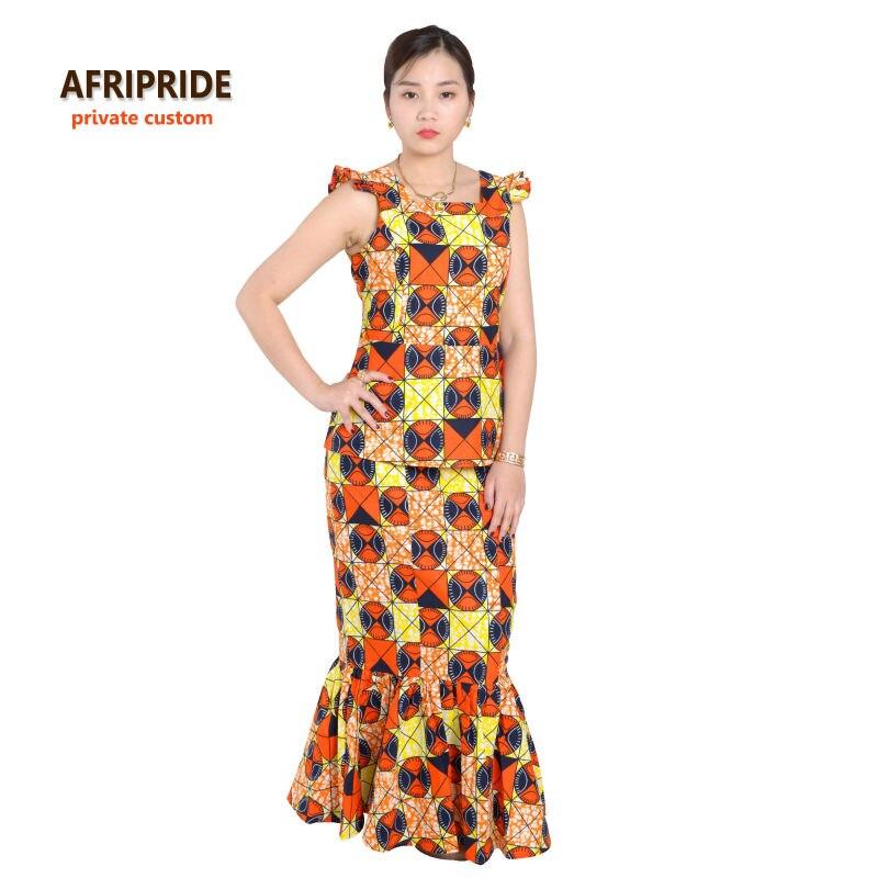2018 الأفريقي أنقرة طباعة تنورة مجموعة للنساء AFRIPRIDE أكمام واصطف أعلى + طول الكاحل اصطف تنورة مجموعة التقليدية A622608