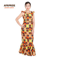 2018 african ankara print skirt set for women AFRIPRIDE sleeveless lined top+ankle length lined skirt traditional set A622608