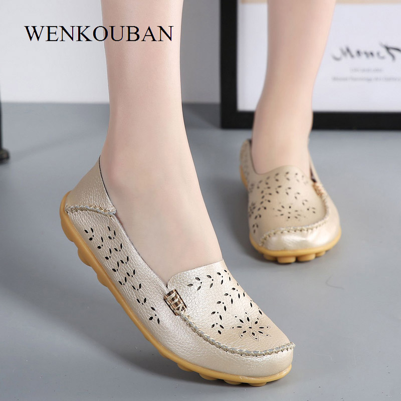Leather Silver Shoes Women Ballet Flats Loafers Brogues Summer Slip On Moccasins Ladies Flat Shoes Ballerina Chaussures Femme цены онлайн