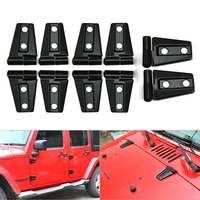 10pcs Multifunction Hood & Door Hinge Cover Fits For Jeep Wrangler JK JKU 2007-2017 Unlimited Accessories For Most Car Devices
