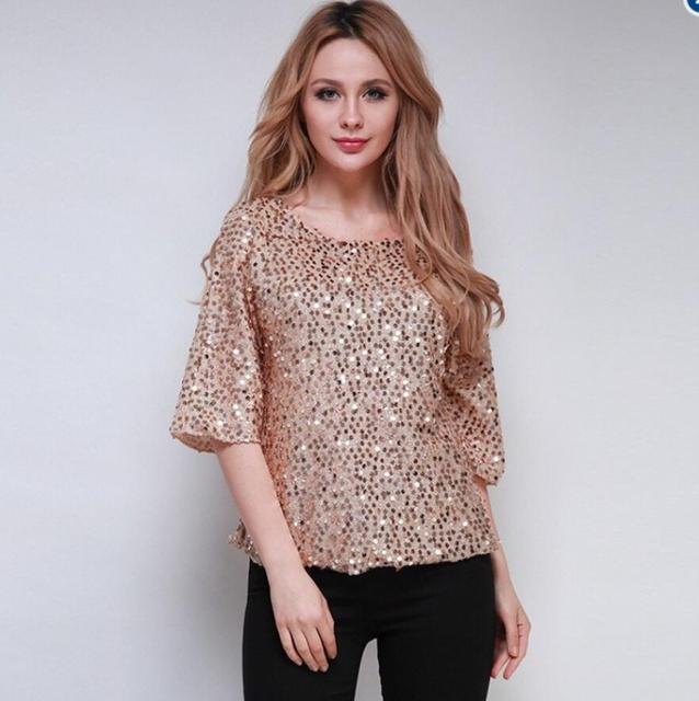 5ae7f171478 Plus Size S-5XL Women s Sexy Shiny Sequined blouse O Neck Casual Shirt  Women clothes shirts chiffon blouse women tops blouses