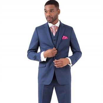 Maddox Vested Solid Blue Premium Slim Fit Suit Notched Lapel Tuxedos Men Suits Groom Wear Wedding Party Suit (Jacket+Vest+Pant)