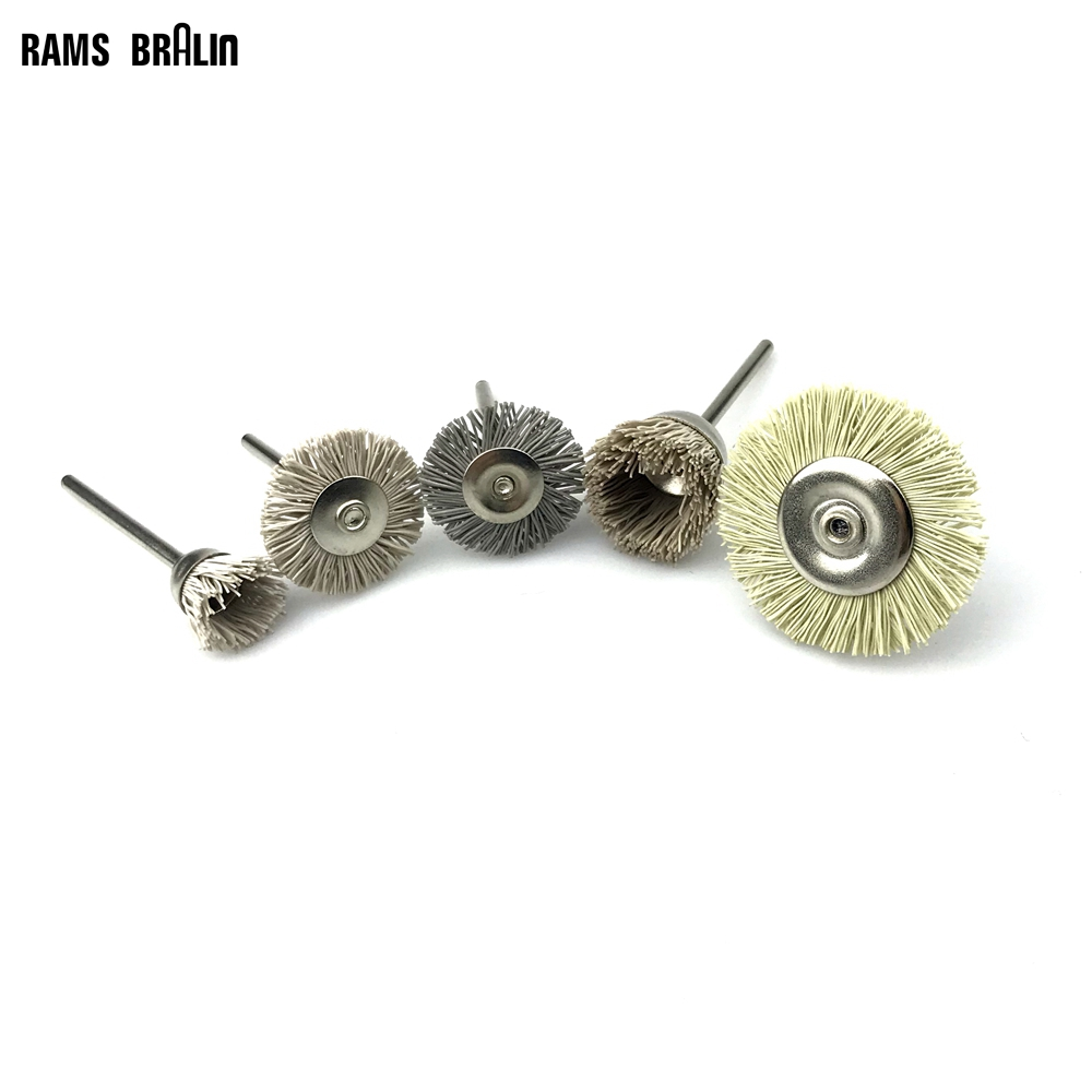 5 Pieces Assorted Mini Brush Mounted Nylon Abrasives Wire Polishing Brush Wood Carving Groove Grinding Head Dremel Tool