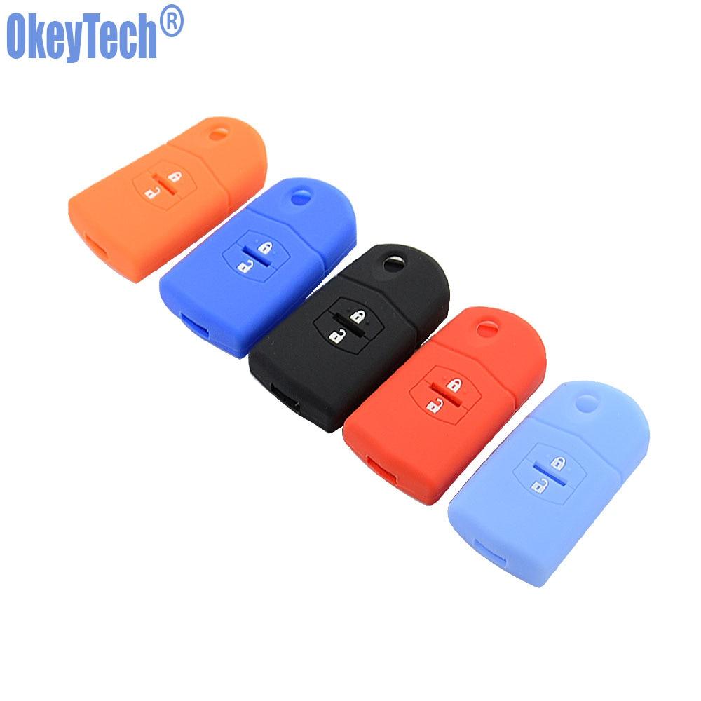 OkeyTech Silicone Key Case Cover For Mazda 3 2 6 2003 2004 2005 2006 2007 2008 2009 2010 2011 2012 2013 Car Key Holder 2 Button