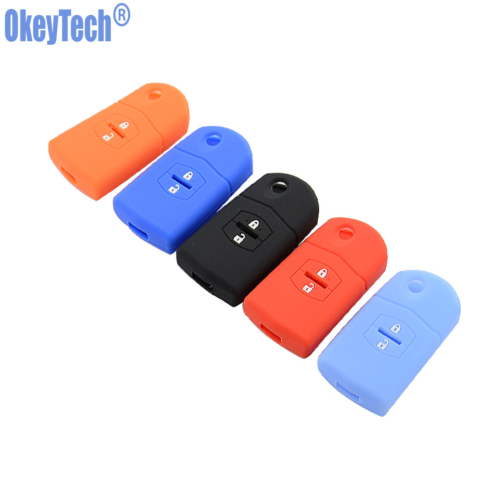 OkeyTech Silicone Key Case Cover For Mazda 3 2 6 2003 2004 2005 2006 2007 2008 2009 2010 2011 2012 2013 Car Key Holder 2 Button image