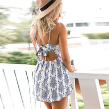 NEW Fashion summer jumpsuit woman 2019 Casual Playsuits Print Camis Sexy Backless jumpsuit elegant pantaloni siamesi J28
