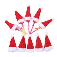 10pcs/lot Mini Christmas Hats Red Santa Claus Hat Bottle Cap Christmas Decoration for Home Dinner Party Table Xmas Decoration