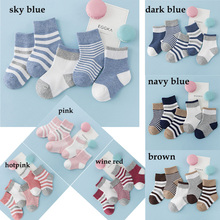 цена на 5Pair/Lot Cotton Baby Socks children winter striped socks Kid' Baby Boy And Girl Short Floor Socks 7 colors