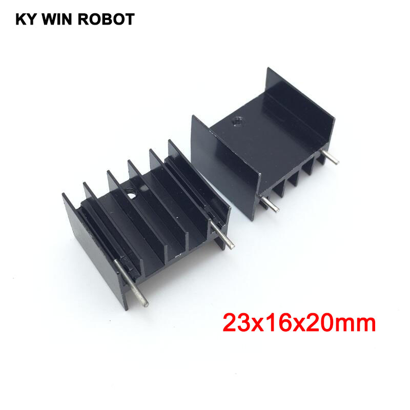 10pcs Black Aluminium TO-220 23x16x20mm Heatsink TO 220 Heat Sink Transistor Radiator TO220 Cooler Cooling 23*16*20MM With 2pins