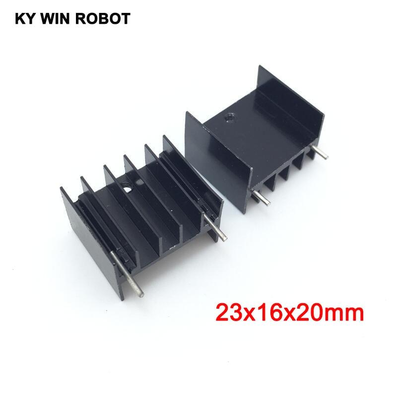 10pcs Black Aluminium TO-220 23x16x20mm Heatsink TO 220 Heat Sink Transistor Radiator TO220 Cooler Cooling 23*16*20MM With 2pins