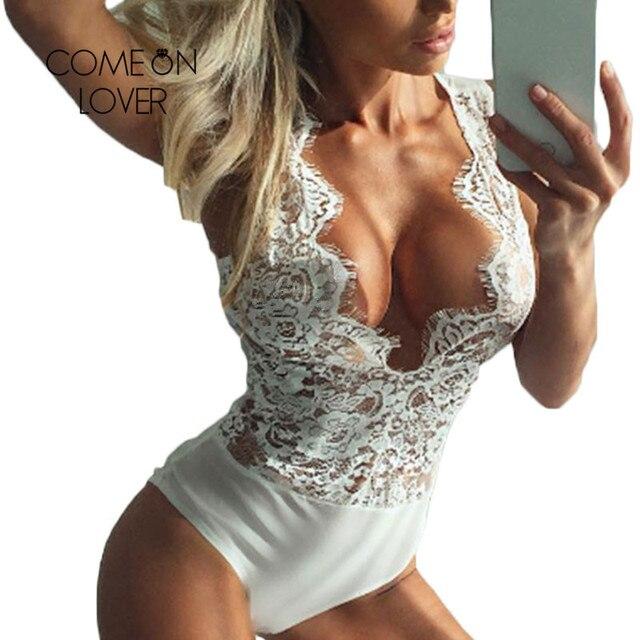 Comeonlover V neck Eyelash Sheer Mesh Lace Bodysuit Lingerie High Cut  Transparent Body Lingerie Sexy Teddies Bodysuit RI80503 2929194d3