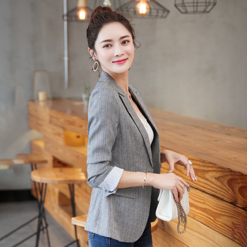2020 Korean Spring Autumn New Chic Office Lady Casual Houndstooth Plaid Blazer Jacket Gray  Plus Size