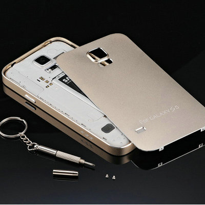 new style 38e9e 88986 US $22.92 |Luxury Gold Aluminum Case for Samsung Galaxy S5 i9600 Battery  Housing Cover Coque Ultra thin Metal Matte Surface Fundas + Screw on ...