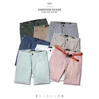 SIMWOOD 2018 Summer New Solid Shorts Men Cotton Slim Fit Knee Length Casual Men Clothes High