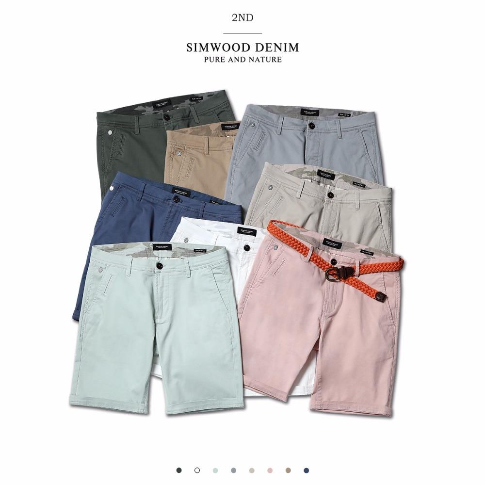 SIMWOOD 2019 verano nuevo sólido pantalones cortos de algodón de los hombres Slim, la longitud de la rodilla casuales de los hombres ropa de alta calidad tamaño 9 color disponible