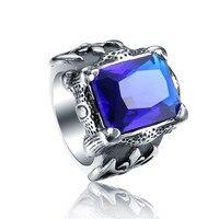 UK Rings Blue Red Stones Viking Wedding Bands For Men Stainless Steel Blue Viking Rings Male