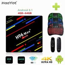 HAAYOT H96 MAX + 4 gb RAM RK3328 64 gb ROM Smart TV Box Android 8.1 Quad Core 2.4g /5g Dupla Wifi HDMI 4 k Media Player Set Top Box