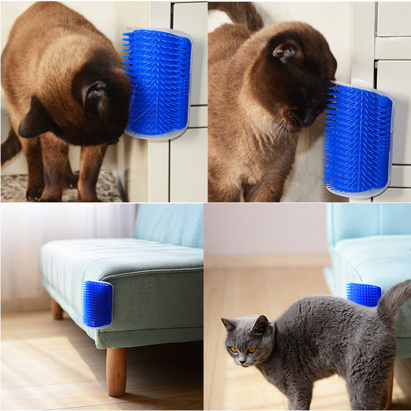 Corner Pet Hair Removal Brush Comb Play Cats Novelty Toy Bristles Arch Self-groomer Toys For Cats Scratcher Plastic With Catnip