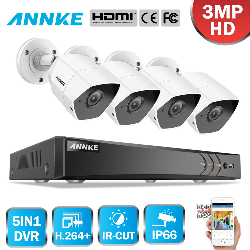 ANNKE 4CH 3.MP HD Security Camera System Indoor Outdoor 5 in 1 H.264 DVR IP66 Weatherproof CCTV Surveillance Kit IR Night Vision home security system 16ch h 264 motion detect camera system dvr kit with 800tvl waterproof outdoor ir night vision cctv camera