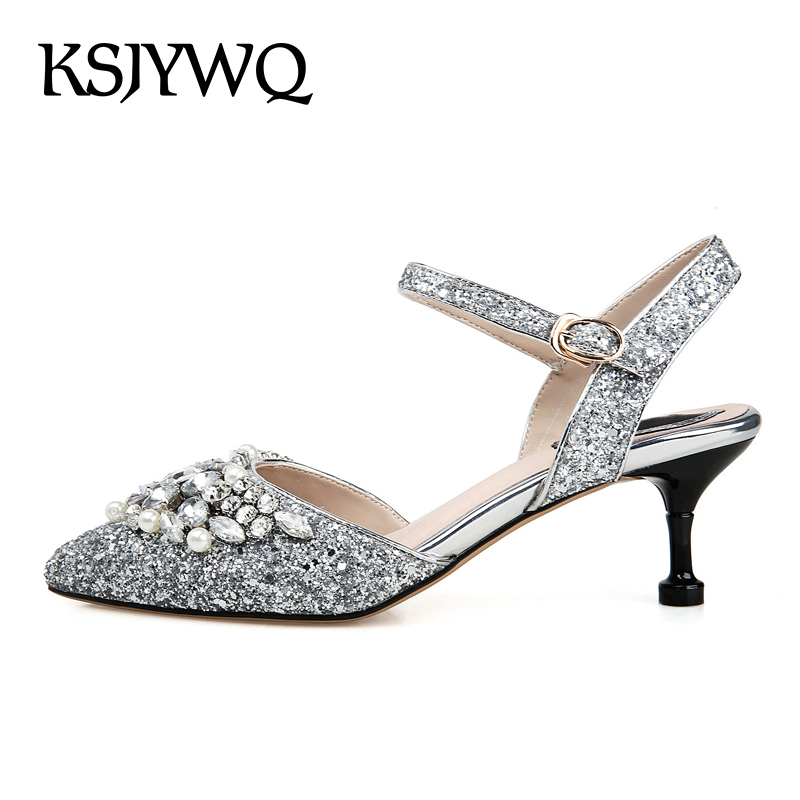 KSJYWQ Sexy Silver Women Sandals Genuine Leather Pointed-toe 6 CM High Heels Summer Style Pearls Buckle Pumps Box Packing D08-26 ksjywq genuine leather flowers women sandals sexy exposed toe white shoes summer style clip toe shoes woman box packing a2571