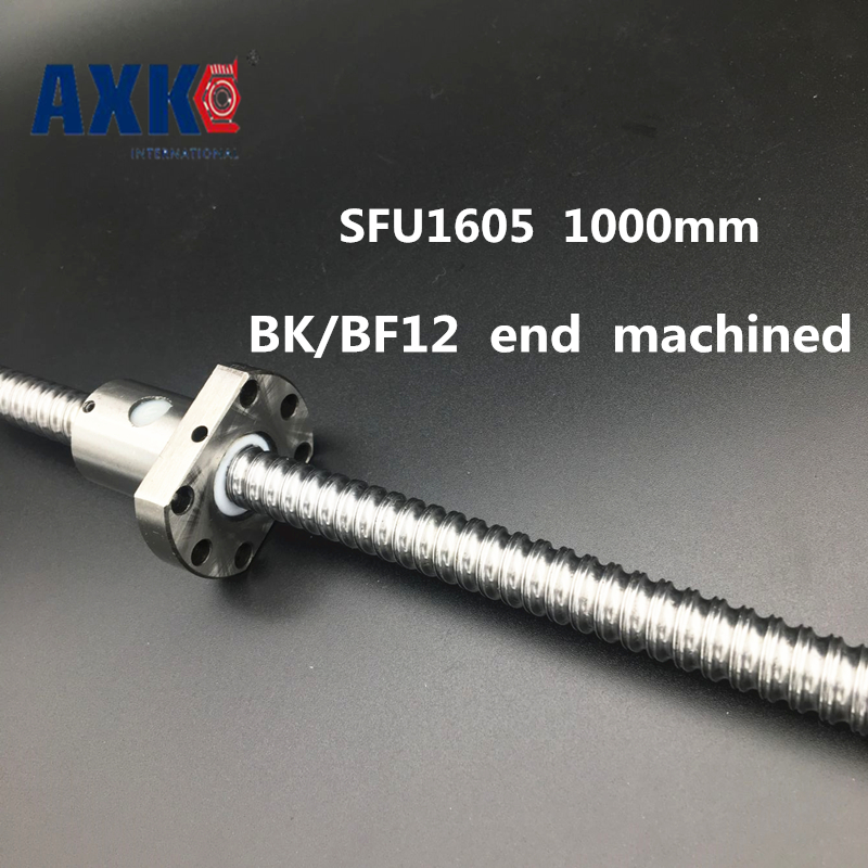 AXK Linear Rail Cnc Router Parts Axk Sfu1605 - L1000mm 1000mm Ball Screw C7 With 1605 Flange Single Nut Bk/bf12 End Machined r165369410 rexroth ball rail systems cnc linear rail