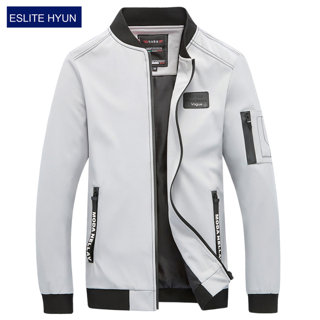 84e5cdb8c89 2018 New Spring Autumn Men s Jackets Solid Fashion Coats Male Casual Slim Stand  Collar Zipper Bomber Jacket Men Overcoat 4XL 5XL