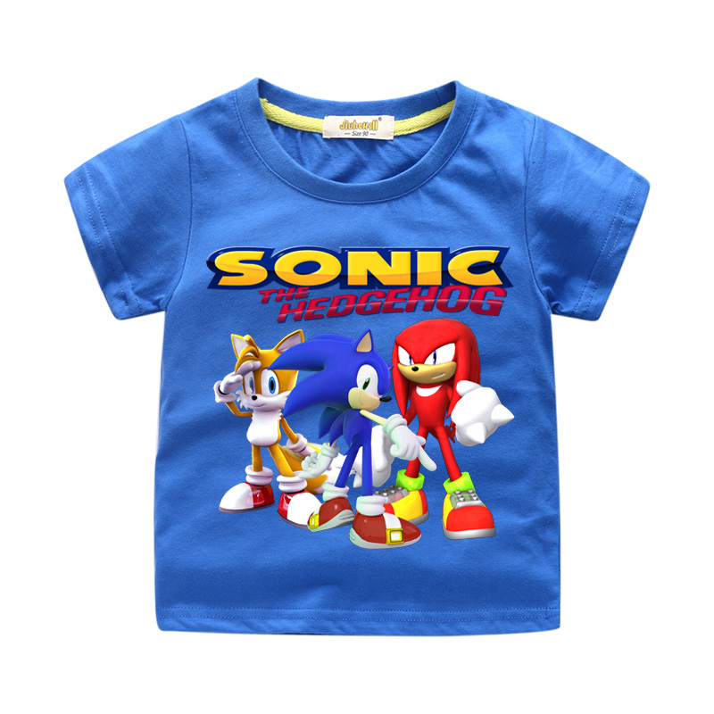 Kids New Cartoon Sonic 3D Print Tees Top Costume Boys Summer Short Sleeve T-shirt Clothes Girls T Shirt For Baby Clothing WJ157 short sleeve 3d tie dye trippy print t shirt