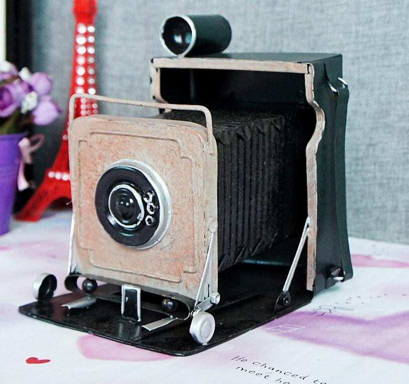 vintage classic Distressed antique movie prop iron camera hand made craft model for home coffee bar ornaments decoration