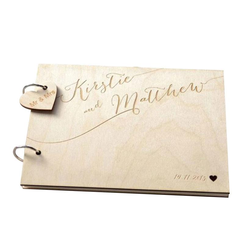 パーソナライズされた書道名前と日付ゲストブック選択肢刻ま結婚式のゲストブック素朴な木製ゲストブックフォトアルバム -