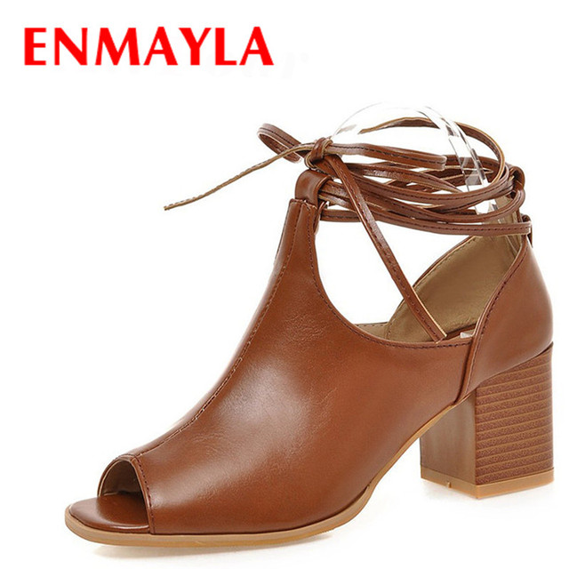 4431994b894d ENMAYLA Summer Square Toe High Heels Shoes Woman Peep Toe Lace-up Gladiator  Sandals Women Square Heels Pumps Black Brown size 43