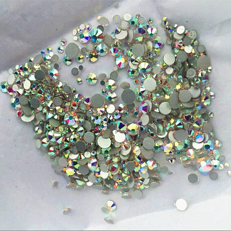 1000PCS/Pack Mix Sizes Crystal Clear AB Non Hotfix Flatback Rhinestones Nail Rhinestoens For Nails 3D Nail Art Decoration Gems
