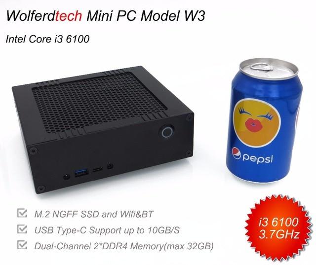 Better than i7 7500U 6500U ,DIY desktop mini PC W3 with i3 6100 3.7GHz, DDR4 RAM+M.2 SSD, USB type-C, Windows 10 mini computer
