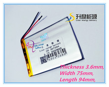 367594 3.7V 3800mah Lithium Tablet polymer battery With Protection Board For GPS Tablet PC Digital Produ