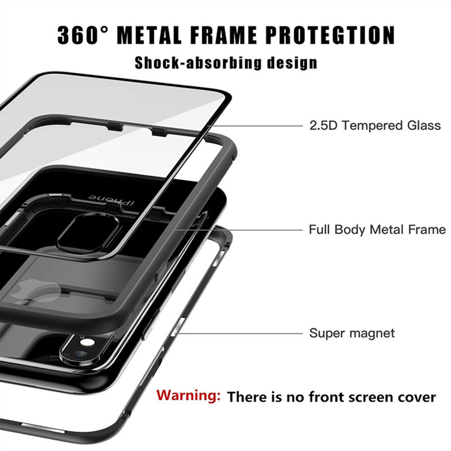 Image 5 - Dirt resistant Metal Magnetic anti knock phone Case for apple iphones iphone 7 8 X S Plus plain fitted case+Back Tempered Glass-in Phone Bumpers from Cellphones & Telecommunications