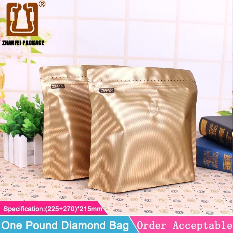 ZHANFEI 20pcs 1 Pound Ziplock Valve Diamond Bag Aluminum
