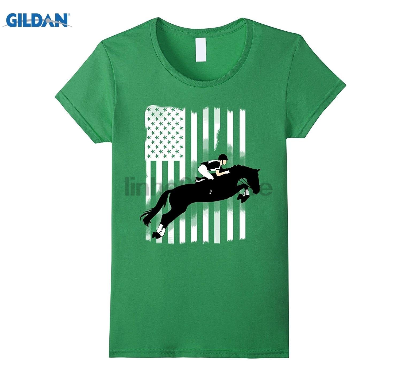 GILDAN horse riding American Flag u.s. team jump rider win T-shirt Womens T-shirt