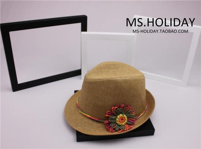 a48310d4acc Beautiful Crochet flower Decorate trilby hat for Woman beach resort Sun hats  Topi camel Summer style