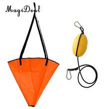 MagiDeal Besar 32 'Orange PVC Sea Anchor Drogue Drift Chute Sock Fits Marine Boat Hingga 20' / 6 m + 29 'Kayak Tow Rope Throw Line