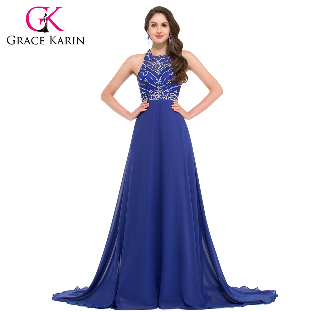 buy grace karin evening dress long chiffon royal blue formal party gowns. Black Bedroom Furniture Sets. Home Design Ideas