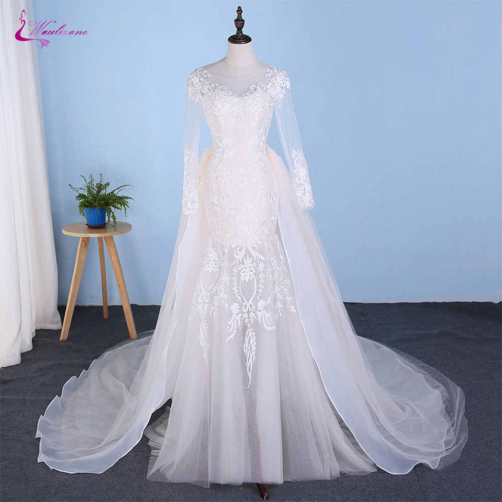 Waulizane Champagne Inner Of Mermaid Wedding Dress 2 In 1 With Detachable Train Floor Length Long Sleeve Bride Dress
