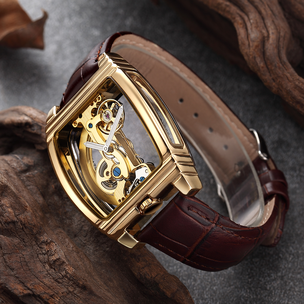 Transparent Mens Watches Mechanical Automatic Wristwatch Leather Strap Top Brand Steampunk Self Winding Clock Male montre