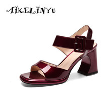AIKELINYU Ladies Shoes 2019 Summer Patent Leather Sandals Women Square High Heel Party Wedding Black Sandal