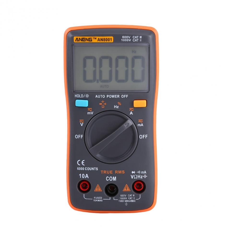 Portable Digital Multimeter AC/DC Ammeter Voltmeter Ohm Meter 6000 Counts Backlight With Test Leads and Bag mini multimeter holdpeak hp 36c ad dc manual range digital multimeter meter portable digital multimeter
