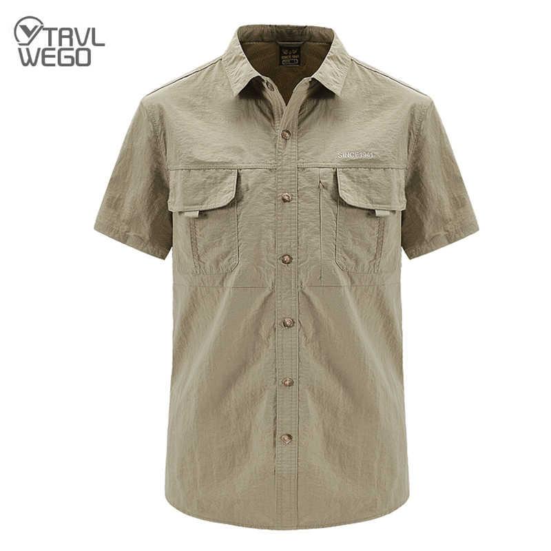 Trvlwego Mannen Snel Droog Overhemd Waterdichte Outdoor Wandelen Shirt Tactische Korte Mouw Mannelijke Combat Jacht Shirts