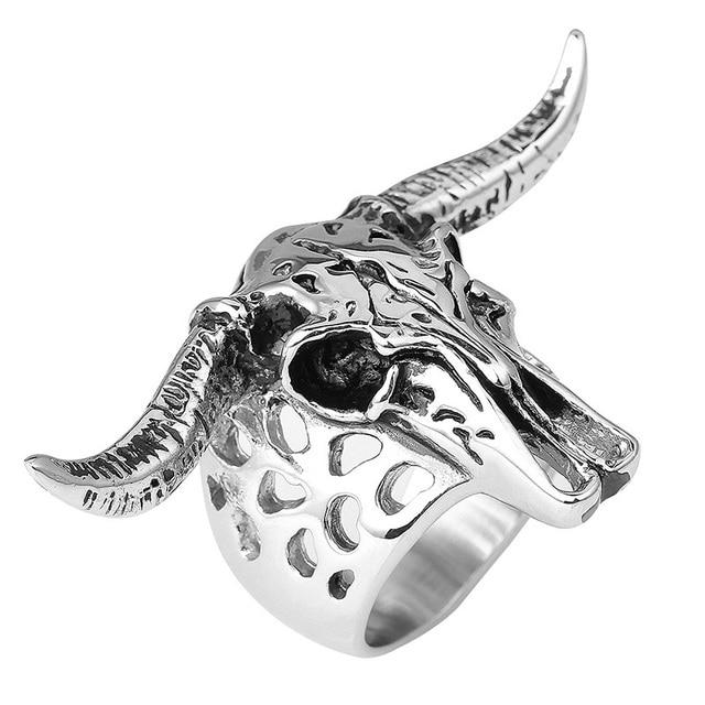 Longhorn Skull Design Ring