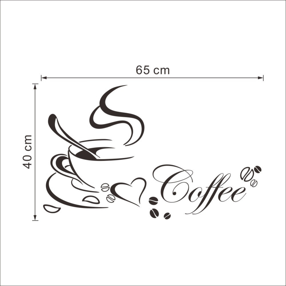 Coffee Cup Design Wall Sticker Vinyl Kitchen Wall Sticker