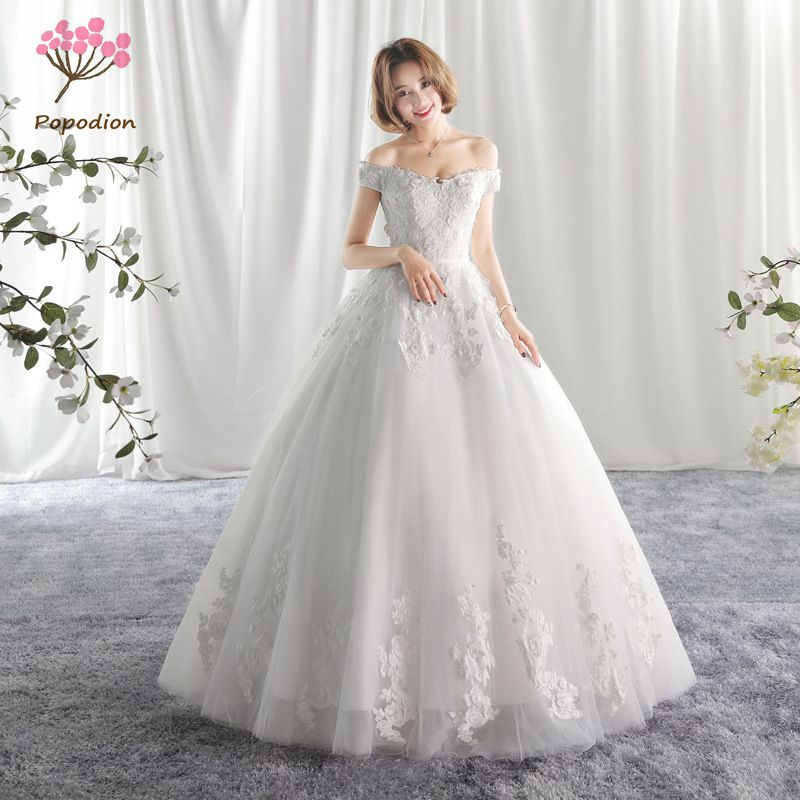 Popodion Wedding Dress Lace Simple Wedding Gown Plus Size